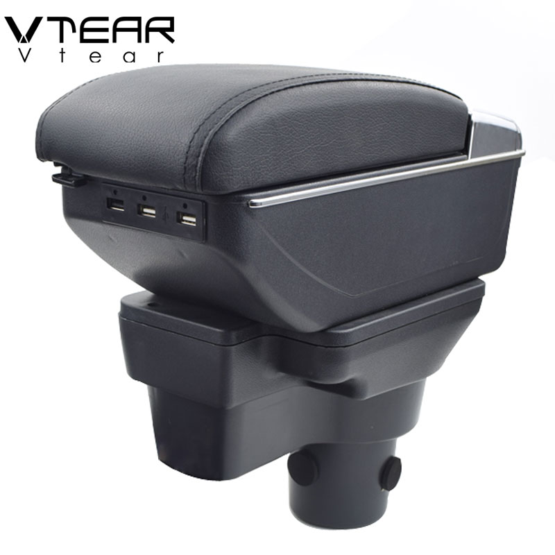 Vtear For Hyundai Solaris 2 armrest box USB Charging heighten Double layer central Store content cup