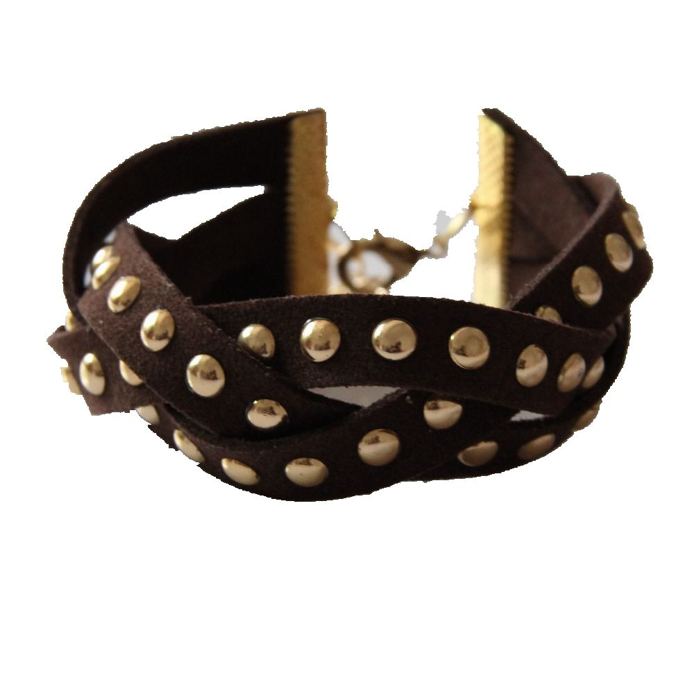 CirGen,Fashion Leather braid Chain Inlay Rivet Punk Style Cuff Bangle Bracelet For Women Men Costume Jewelry Item,C62