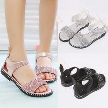Летние Стильные Детские сандалии, модные уши кролика, повседневная обувь для девочек, стразы принцессы, сандалии, детская обувь на плоской подошве, римская обувь для маленьких девочек