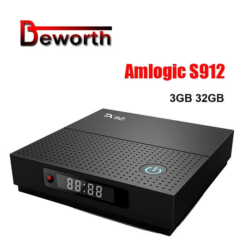 5pcs TX92 TV Box Amlogic S912 Octa-core CPU Android 7.1 OS BT 4.1 1000M LAN Max 3G RAM 32G ROM 2.4G/5G Wifi Smart Set Top Box tanix tx9 pro tv box amlogic s912 octa core cpu android 7 1 os 4k smart tvbox 1000m lan 3g ram 32g rom 5 8g wifi media player