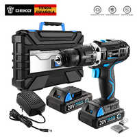 DEKO GCD20DU3 20-Volt Max DC Lithium-Ion Battery 13mm 2-Speed Electric Cordless Drill Mini Screwdriver with Impact Function