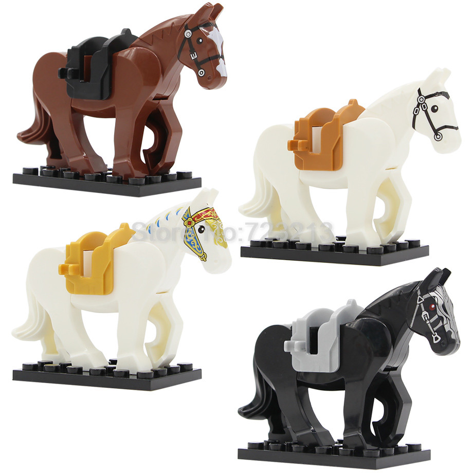 4pcs Knight Horse Set Tiger For Figure Tiger Panther Leopard Building Blocks Set Model Toy for Children X0169 hi ce new m size mechanical horse kawaii animal ride on horse tiger rode on horse kids toy suitable for children adult youth