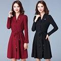 5xl плюс большой размер женщин одежда 2017 весна осень зима корейских vestidos новый тонкий v-образным вырезом черная точка dress женский A2759
