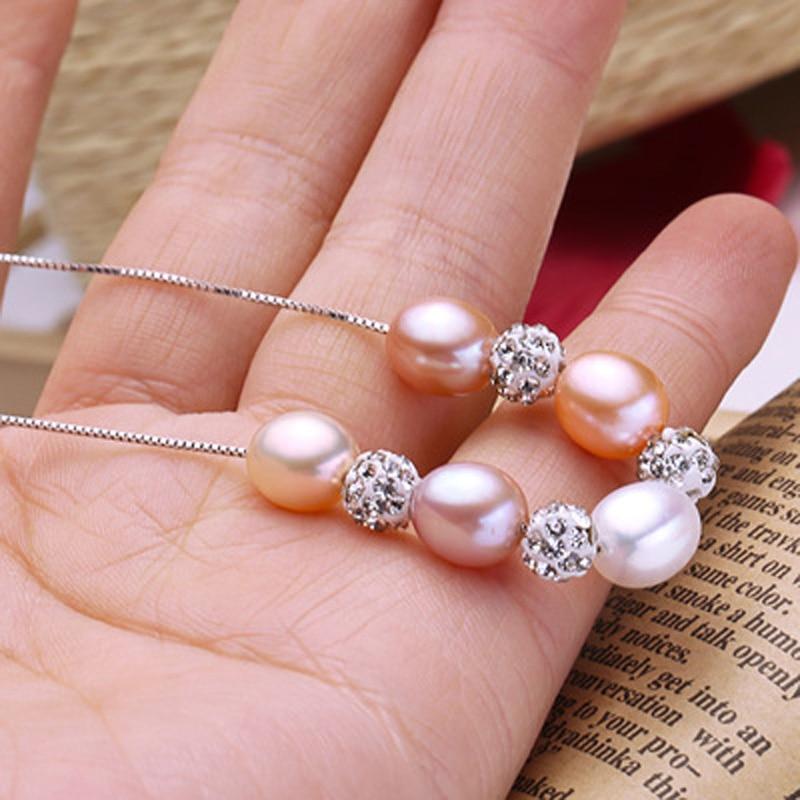 ASHIQI 925 plata esterlina Colgante Real Multi Arroz collar de perlas - Joyas - foto 5