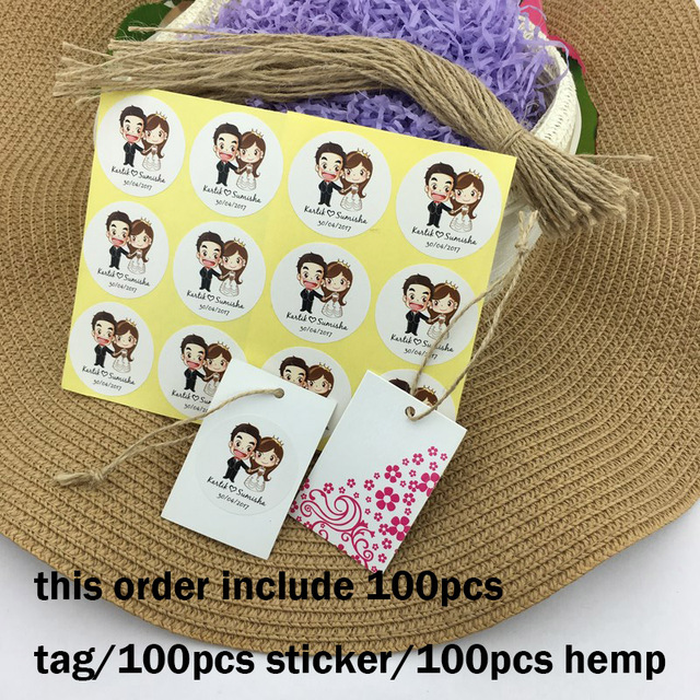 100pcs personalized wedding stickers and wedding tag customstickers wedding engagement anniversary party favors labels supplies
