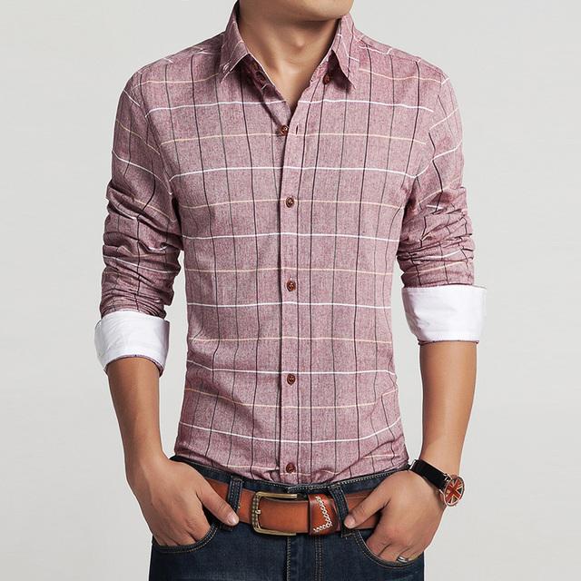 2015 homens 100% algodão retro camisas de vestido da marca hot homem primavera outono manga longa de algodão xadrez do vintage casual masculino camisas