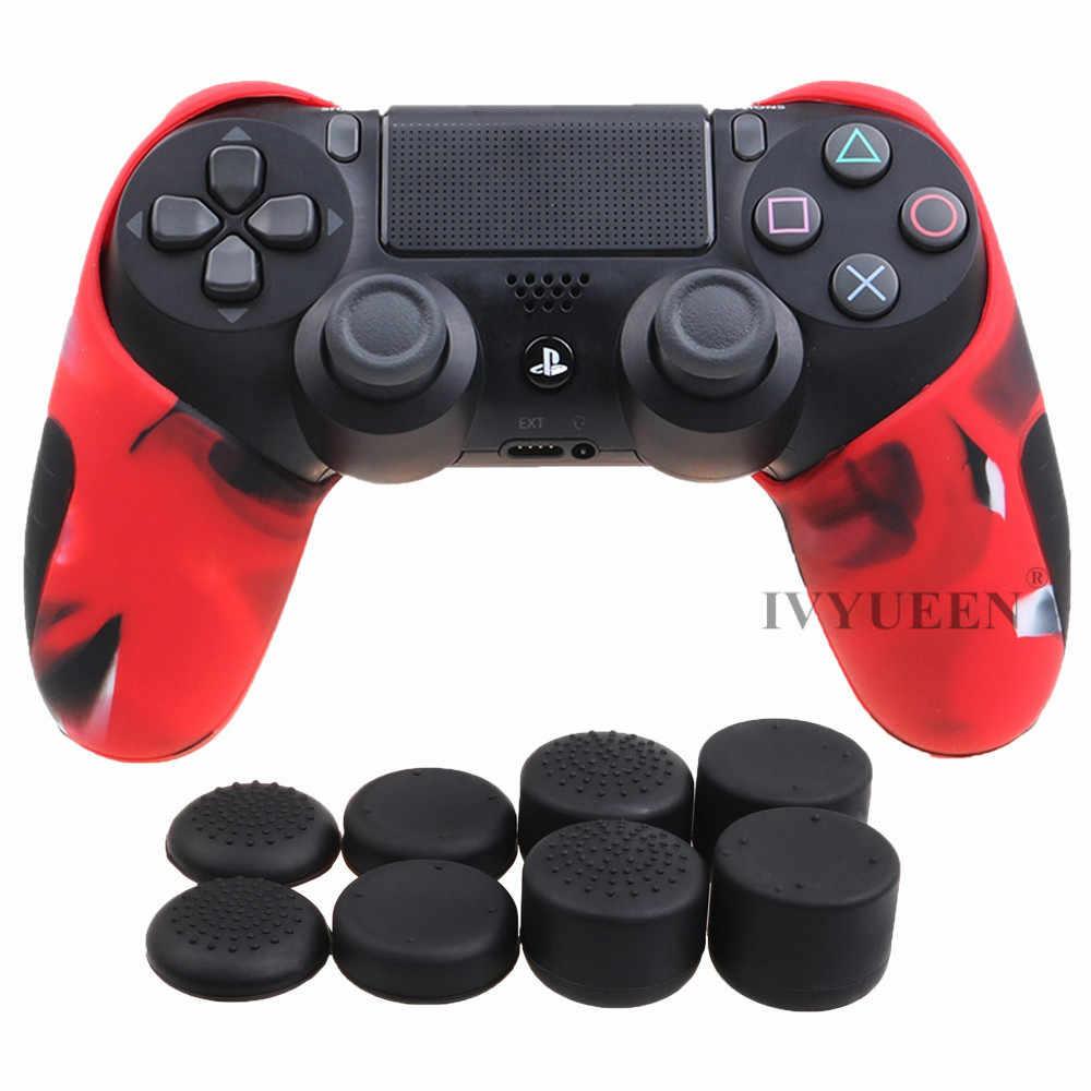 Ivyueen Lebih Tebal Setengah Kulit untuk PlayStation DualShock 4 PS4 Pro Slim Controller Silikon Case Penutup dengan 8 Thumb Stick Caps