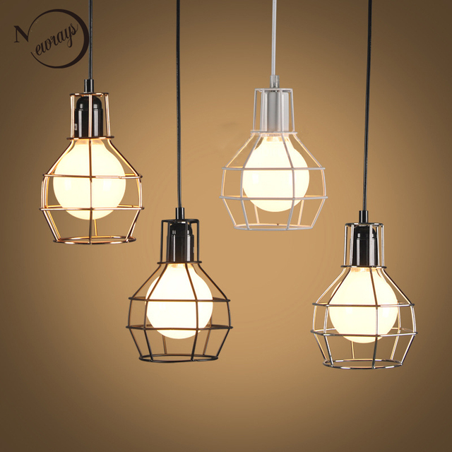 loft industrial iron cage. Loft Warehouse Style Retro Black Industrial Iron Cage Pendant Lamps Cord Lights Fixture Led E27 For V