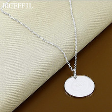 Round Card Necklace Round Tag Brand Name Jewelry 925 Silver Color Women's Pendant Necklace(China)