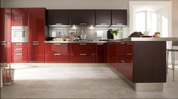 2017 Индивидуальные высокий Глянец Красный лак кухонные шкафы L1603004