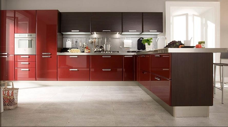 high gloss lacquer kitchen cabinets | 2017 customized high gloss red lacquer kitchen cabinets ...