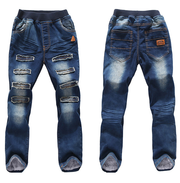 2016 Boys Fashion Jeans Children Warm Thick Winter Pants Boys Jeans Baby Boy Jeans Cotton Denim Trousers For 4-12Y Kids Clothes