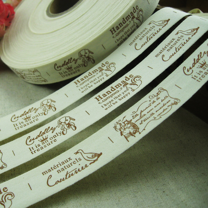 Etiquetas Para Ropa Cotton Ribbons Label 2CM Width Words With Animals Label Sewing Custom Clothing Tags Garment Shoes Bags Label