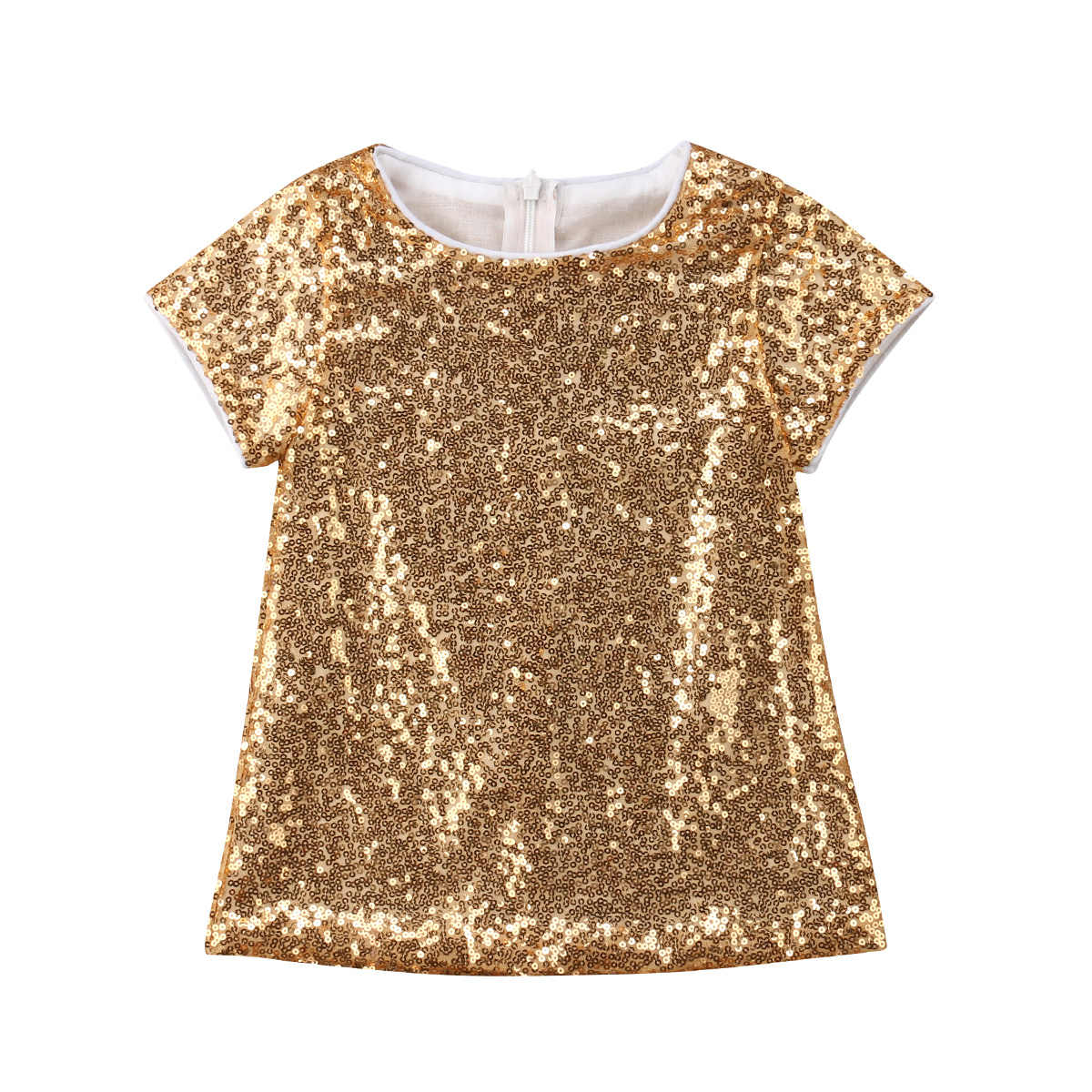 Christmas Kid Baby Girls Gold Sequins A-Line Dress Child Party Birthday Dress Girls Summer Clothing