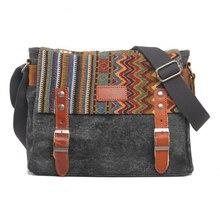 2017 Men's Canvas Bag PU Leather Shoulder Crossbody Bags Vintage Messenger Travel School Satchel High Quality Free Shipping P413