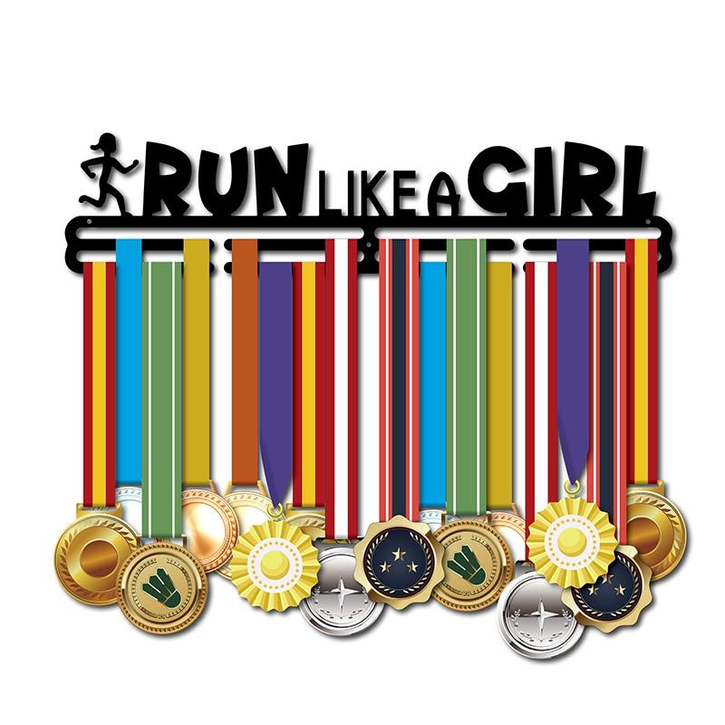 46cm L Medal hanger for girl Run like a girl medal holder Sport medal display rack