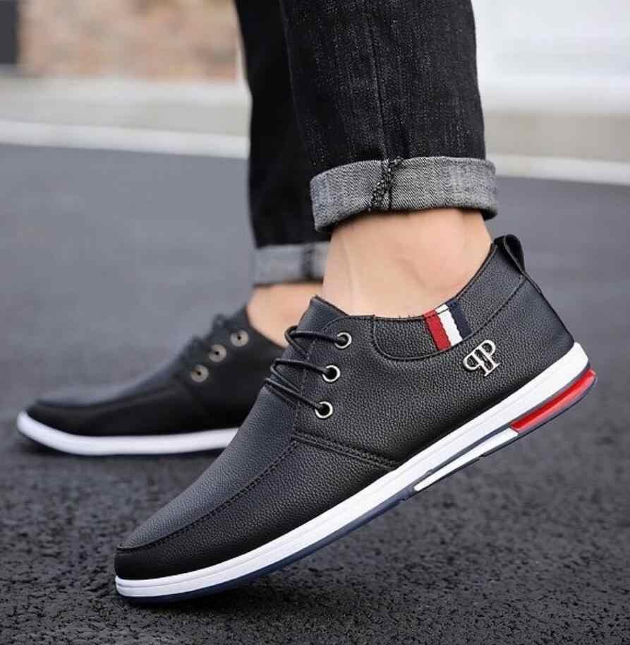 ใหม่ 2019 แฟชั่นฤดูใบไม้ร่วง England ชายรองเท้าสบายๆรองเท้าสำหรับชายรองเท้าผ้าใบ calzado hombre zapatos ผู้ชายรองเท้าหนัง