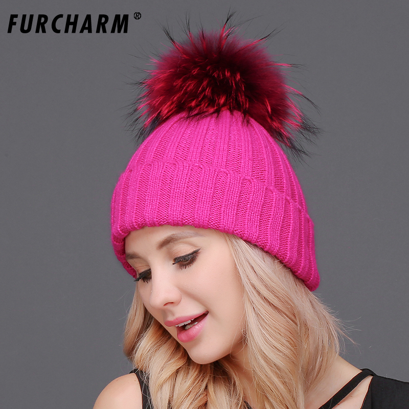 3a84893ff82455 Real Fur Hat mink and fox fur ball cap pom poms winter hat for women girl