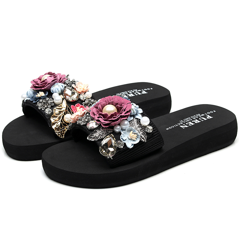 Summer DIY Slippers Casual Outside Women 2018 Fashion Female Ladies flip flops Footwear Beach Flat Shoes low heel 3cm SIZE 35-42