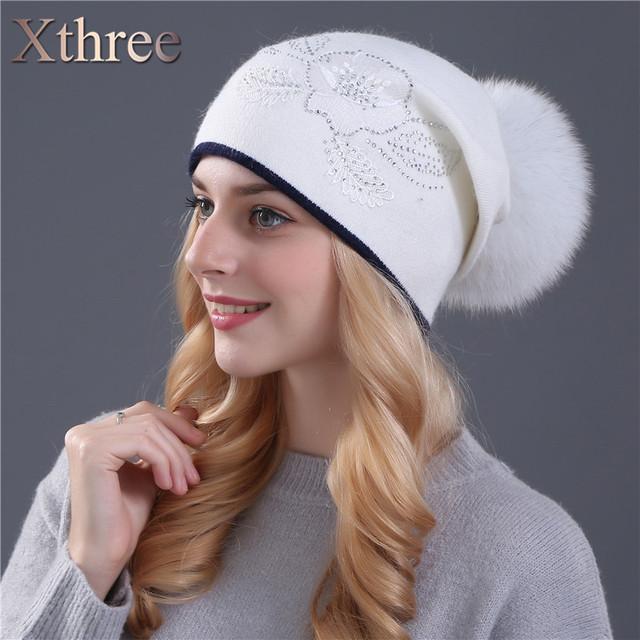Xthree verdadeira pele de raposa pom poms e chapéu de lã inverno malha para mulheres Lace Bordados flor Skullies hat atacado