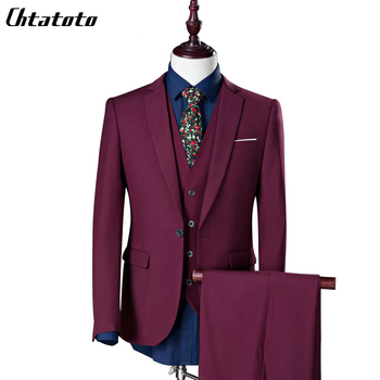 Costume Homme Real 2018 New Fashion Men's Business Casual Three-piece Suit Jacket Groom Groomsman Wedding Large Size One Button