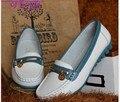 Женщины из натуральной кожи женщина плоские мода медсестра туфли круглый носок гибкой балетки вождения бездельник 1629