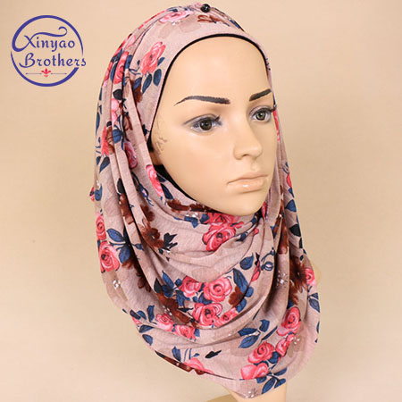 2018  Fashion  High Quality  Floral  Women  Silk  Cotton Scarf  Muslic Hijabs Bandana  Headband 180*80cm