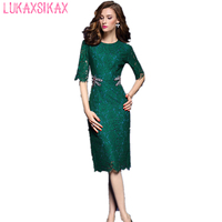 2018 Women Summer Dress Newest Fashion Dragonfly Beading Lace Runway Dress High Quality Luxury Designer Elegant Party Dresses