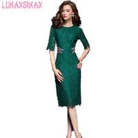 2018 Women Summer Dress Newest Fashion Dragonfly Beading Lace Runway Dress High Quality Luxury Designer Elegant Party Dresses