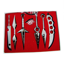 Naruto 7 Pcs Mini Metal Weapons Model Sword Kunai Knife Set Cosplay Toy