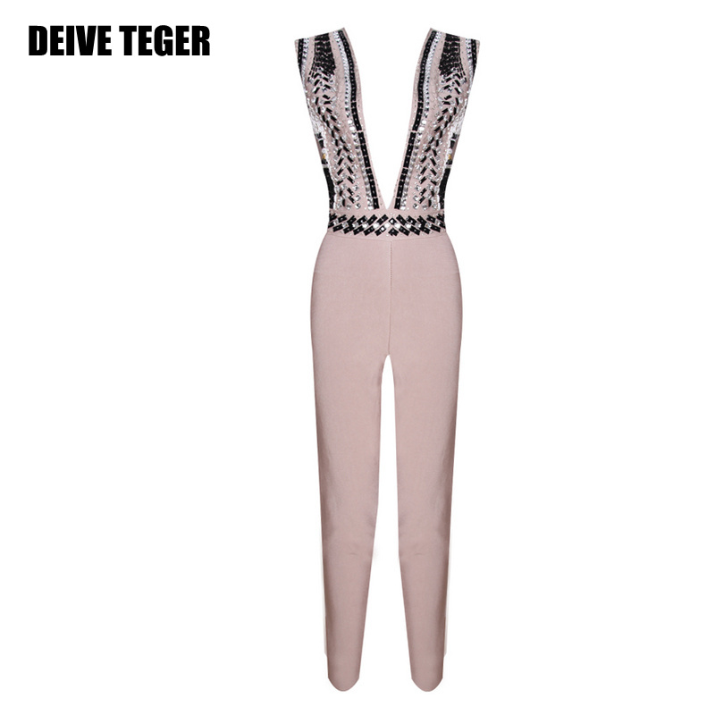 DEIVE TEGER solid black rivet Summer  Women Evening Party deep v-neck sexy Night Club Bodycon Bandage Long Jumpsuits  HL2346