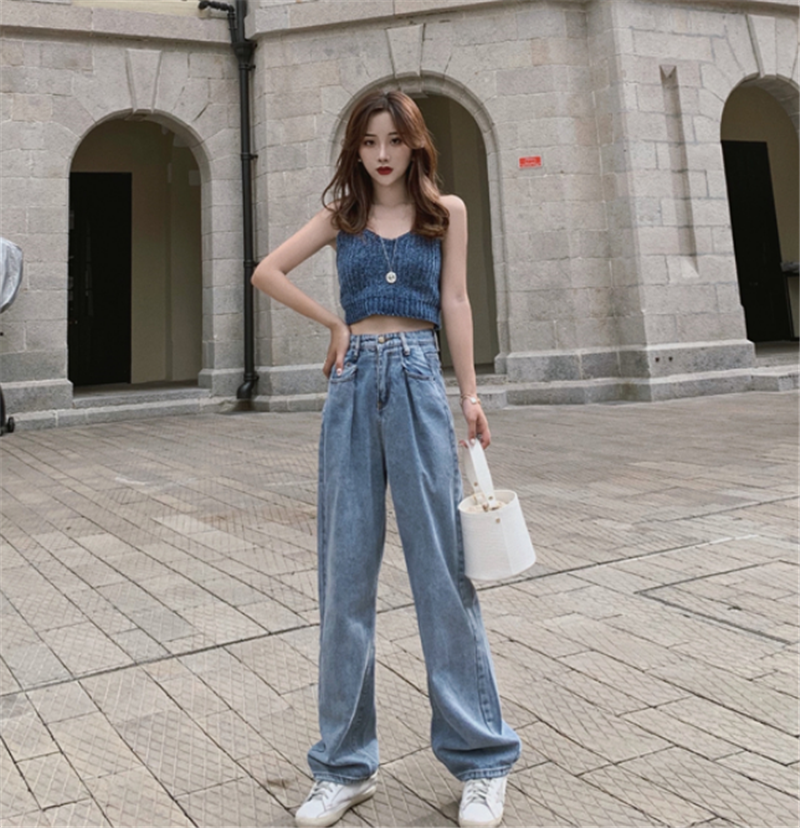 Mr.nut high waist loose jeans female 2019 new summer thin section straight   wide     leg     pants   trousers