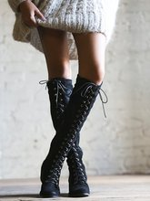 Antumn Winter Suede Lace Up Knee High Boots Gladiator High Heels shoes woman Women Winter Boots 35-42