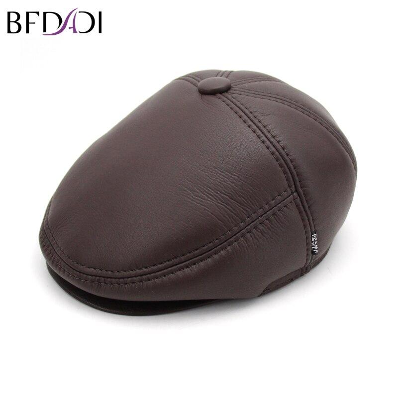 BFDADI Male Cap Genuine-Leather Forward-Cap Casual-Cap Spring Sheepskin Hat Quinquagenarian