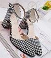 Las mujeres atractivas sandalias de tacón alto de las mujeres plataforma d'orsay de dos piezas zapatos dedo del pie acentuado sandalias de tacón tamaño 34-39