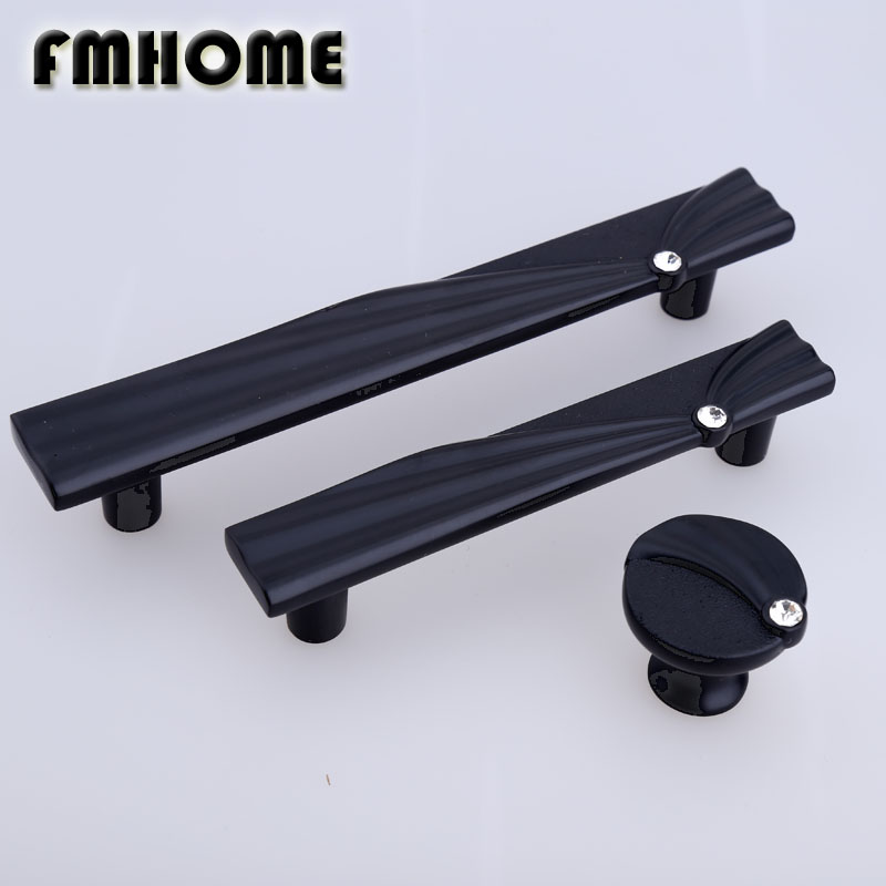 96MM 128MM modern simple fashion black kitchen cabinet dresser door handles glass crystal drawer tv table wine cabinet pull knob modern simple fashion clear glass crystal drawer tv table knobs pulls rose gold rhinestone kitchen cabinet cupborad door handles