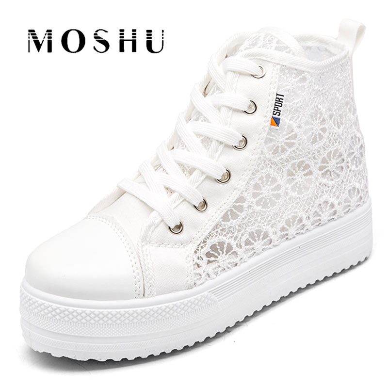 Summer Women Casual Shoes High-top Platform Increased Leisure Ladies Canvas Sneakers Mesh Breathable Plus 42 White Shoes summer casual shoes platform shoes white shoe women breathable mesh cloth lace up increased within students thin shoe