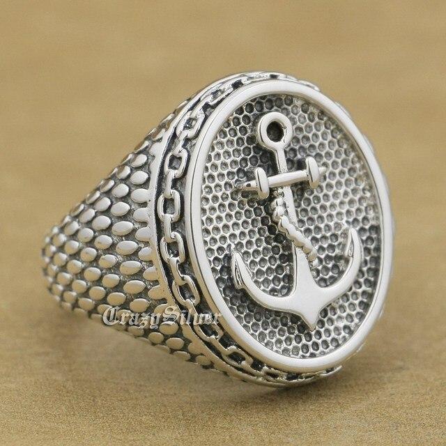 60af3ec18e46 LINSION 925 ancla cadena Mens Biker Rocker Punk anillo Sterling-plata-joyería  9W023 tamaño