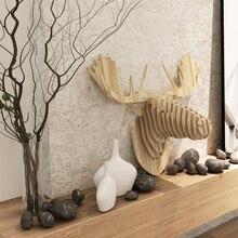 Nórdicos decoraciones para el hogar, de la pared ciervos, Canadá Finlandia Islandia cabeza de alce, hecho a mano DIY 3D artesanías de madera, pared arte, hotel restaurante decoración