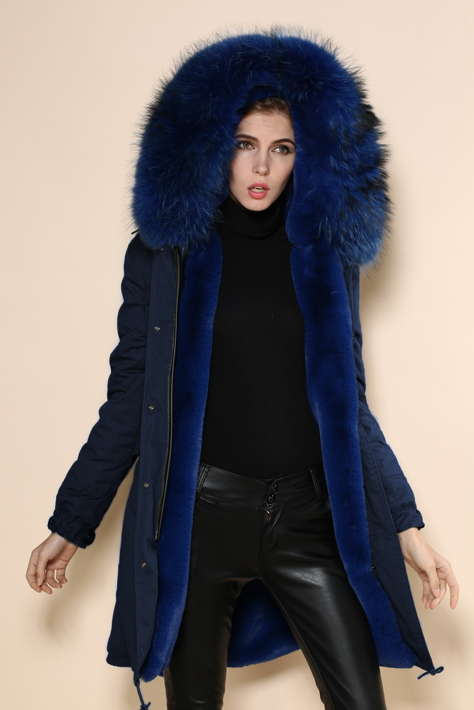 RENA-W by MACKAGE is a duffle style, below the knee length, black rabbit fur-lined parka. Navy dyed Finnish raccoon fur trim at hood. Drawstring waist and shirttail hem provides adjustable sportworlds.gq: $1,