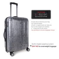 Newcom 100% PC Travel Luggage Hard Shell Suitcase For Business and Trip With I Weight System TSA Lock Red Grey
