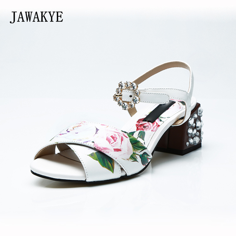 New Print Flowers Peep Toe Sweet Sandals Women Cross cover ankle strap Jewel Square Low heel Women casual shoes Summer Sandals lastest women summer sweet sandals slipper fashion solid color suede flower bow hasp flat heel square toe sandals schuhe damen