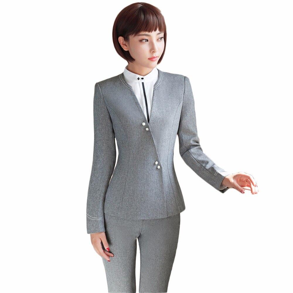 עיצובים אחידים פורמליות גבירותיי עסקי הקריירה משרד חליפת מכנסיים נשים בליזר אפור עם מכנסיים ללבוש לעבודה S-4XL