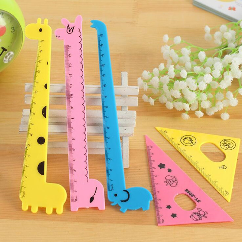 48Pcs/lot Kawaii Cartoon Giraffe Set Ruler Plastic Ruler Stationery For Student Novelty Party Gift For Kids