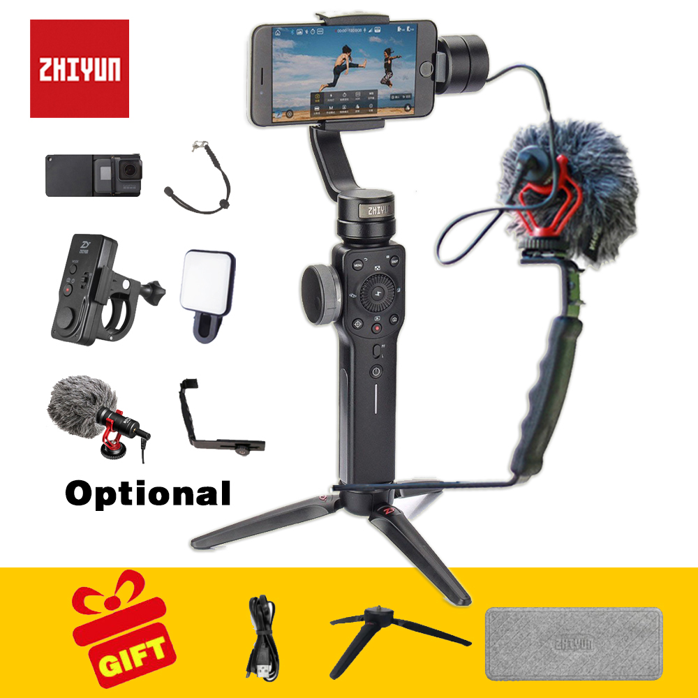 Zhiyun smooth 4 Handheld 3 Axis phone gimbals Stabilizer for action camera Smartphone gopro xiaomi yi 4k sjcam cam wewow sport x1 handheld gimbal stabilizer 1 axis for gopro hreo 3 3 4 smartphone iphone 7 plus yi 4k sjcam aee action camera