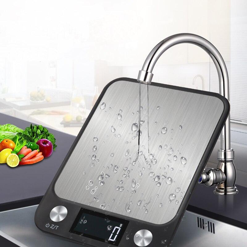 Display lcd 10kg/1g multi-função digital comida cozinha balança de aço inoxidável pesando alimentos balança cozinhar ferramentas equilíbrio
