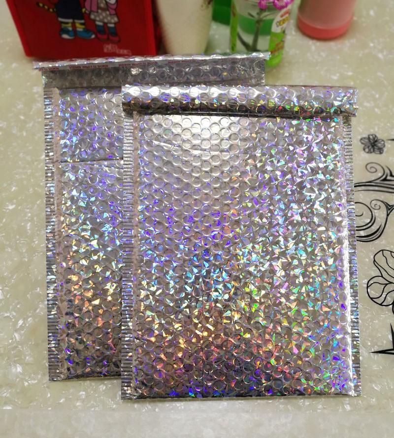 15x13cm/23x30cm Large Sliver Laser Wrap Glitter Metallic Bubble Mailer Bag Gift Bag Aluminum Foil Seals Bubble Envelope Gift Bag