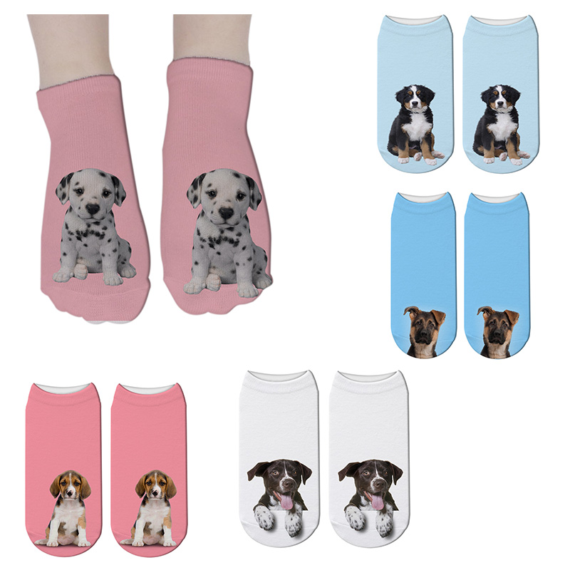 SexeMara New Funny 3D Printing Women Socks Unisex Harajuku Kawaii Short Socks Christmas Sock Cute Dog Pattern Female Ankle Sock