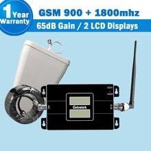 Lintratek 2G GSM 900 + 4G LTE 1800mhz (pasmo 3) podwójne wyświetlacze LCD dwuzakresowy wzmacniacz sygnału Lintratek telefon komórkowy Repeater S46