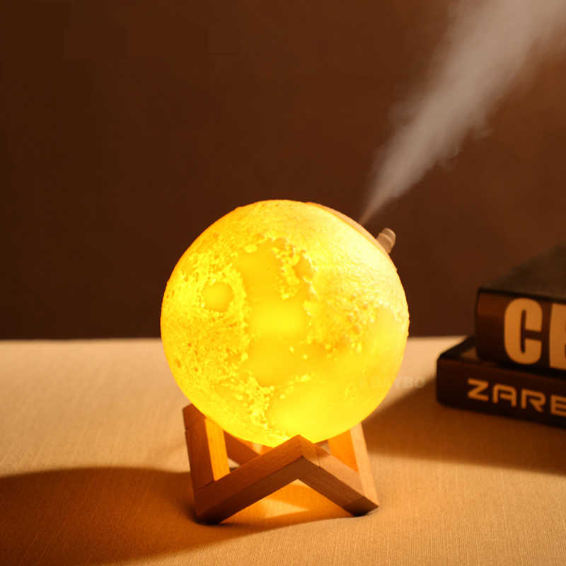 USB 3D Print Moon Lamp with humidifier diffuser mist maker Rechargeable Touch Bedroom table Night Light bulb Decor 2 colours